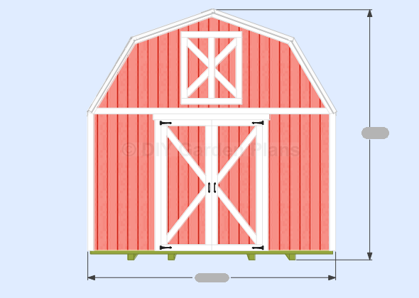 Gambrel-Barn-Plans Front View
