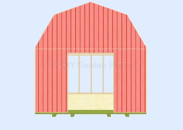 Gambrel-Barn Plans Front Wall cut door cut siding