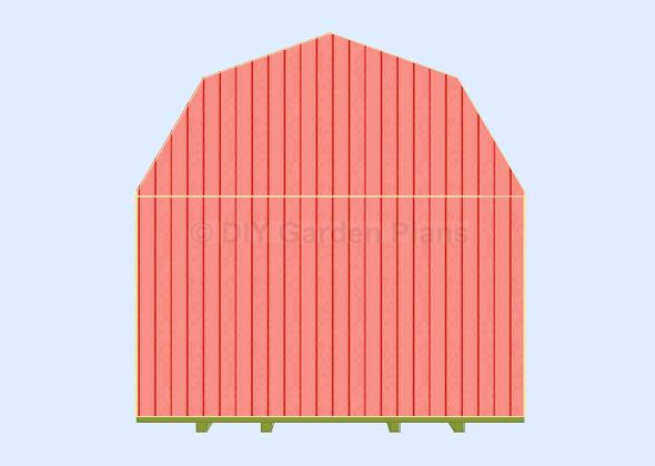 Gambrel-Barn Shed Plans Back Wall trim top siding