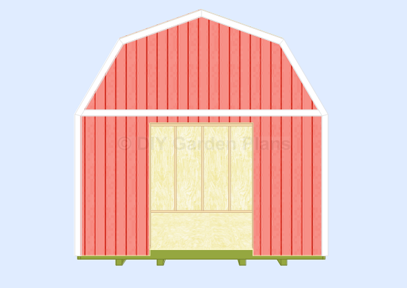 Gambrel-Barn Shed Plans Front Back Trim