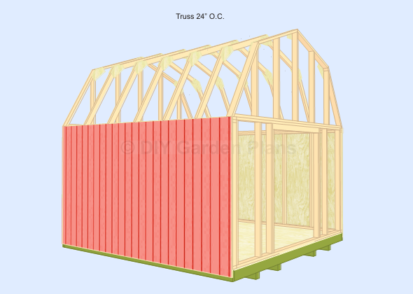 Gambrel-Barn Shed Plans Truss 24 o.c.