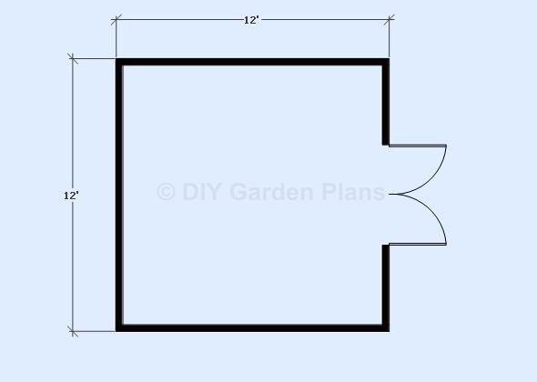 12'x12' gambrel shed floor view