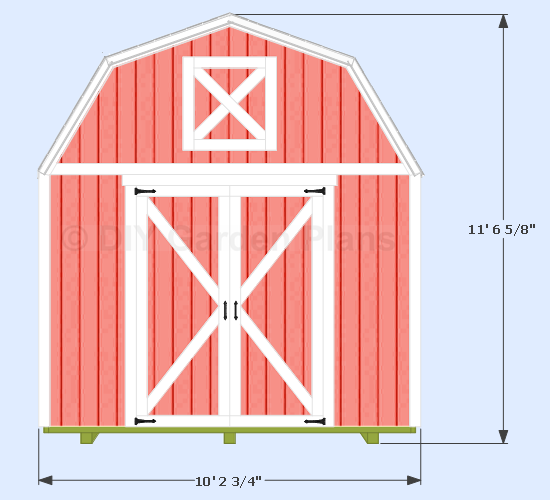 "Shed width 10′ 2 ¾"" measured from the trim. Height 11′ 6 5/8″"