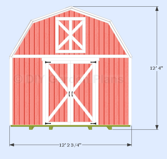 Shed width 12′ 2 3/4″ measured from the trim. Hieght 12′ 4″