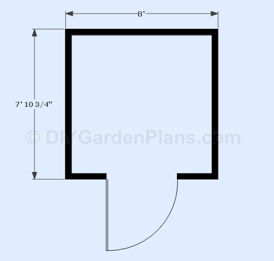 8x8 Gable Shed Plans Floor View
