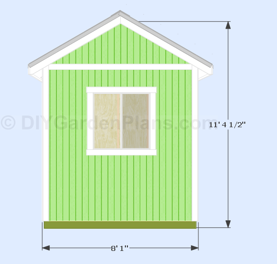 Gable shed plans 10 39 x8 39 overview dimensions for 10x8 shed floor plans
