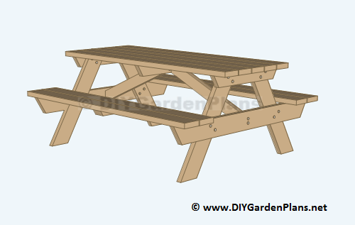 Free picnic table plans, visit our site at www.DIYGardenPlans.net ...