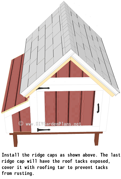 56-chicken-coop-plans-shingles-ridge-cap-installed