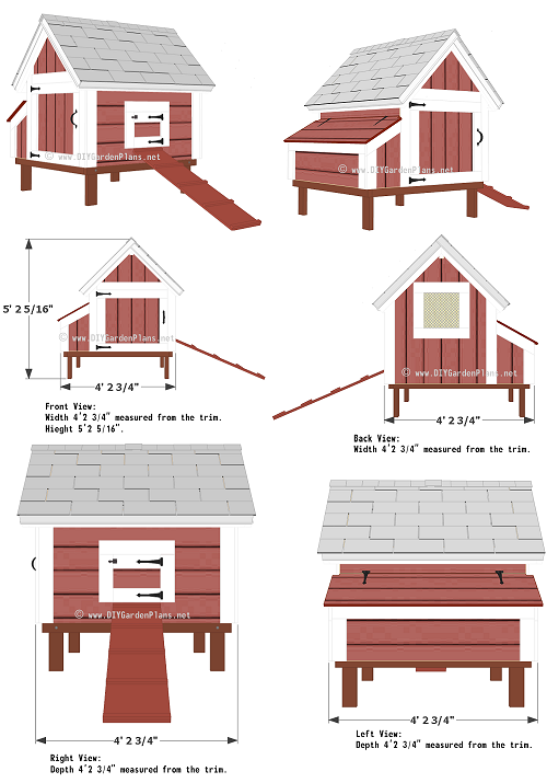 DIY hen house building guide. Simple coop design with pictures.